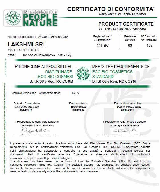 ICEA certificering LAKSHMI